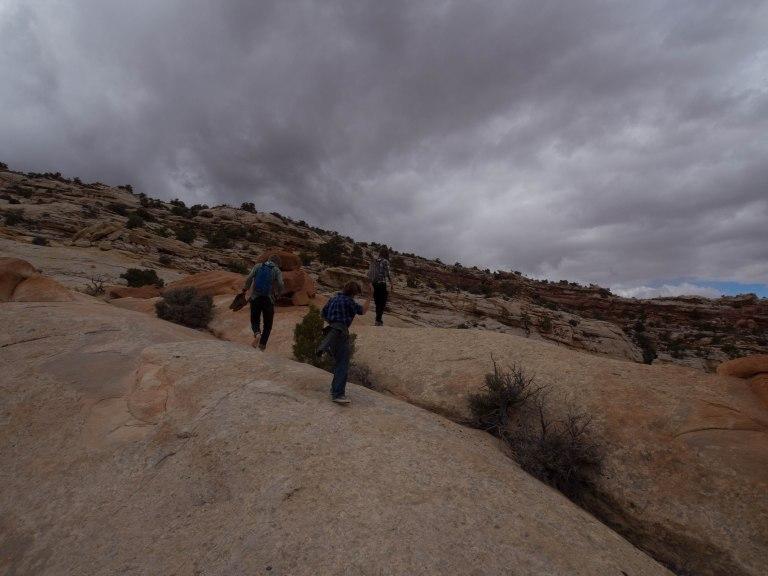 Hiking across the slickrock
