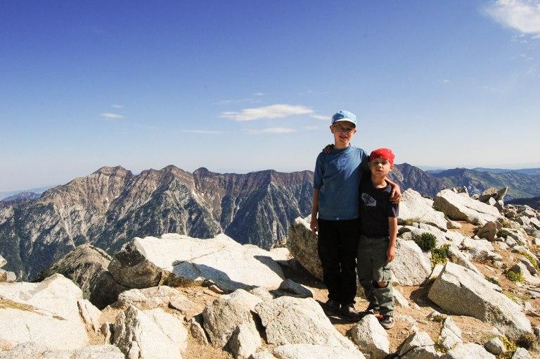 Finn and Lars on the summit of the Pfeifferhorn in the Wasatch Range, UT.