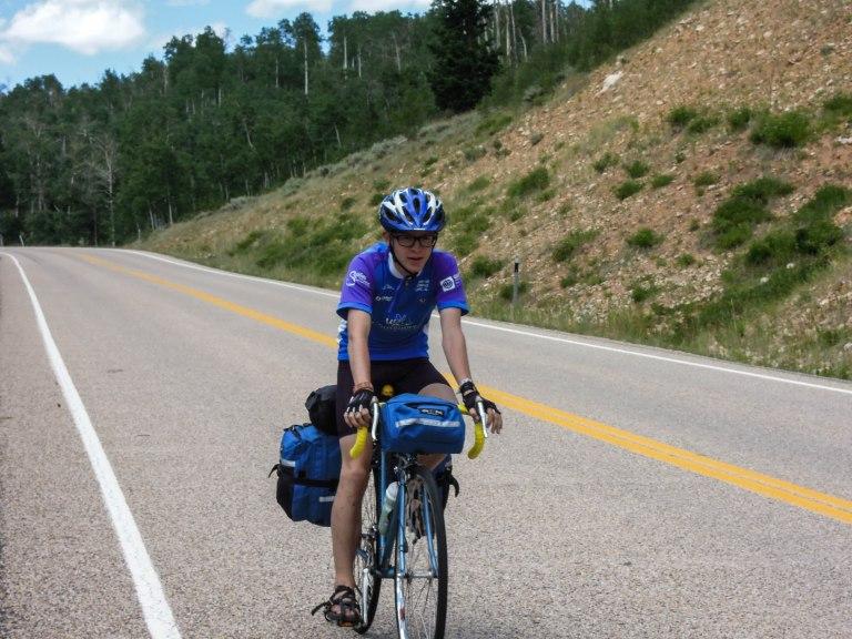 Finn on day 1 of a 6 day bike tour; Wolf Creek Pass.