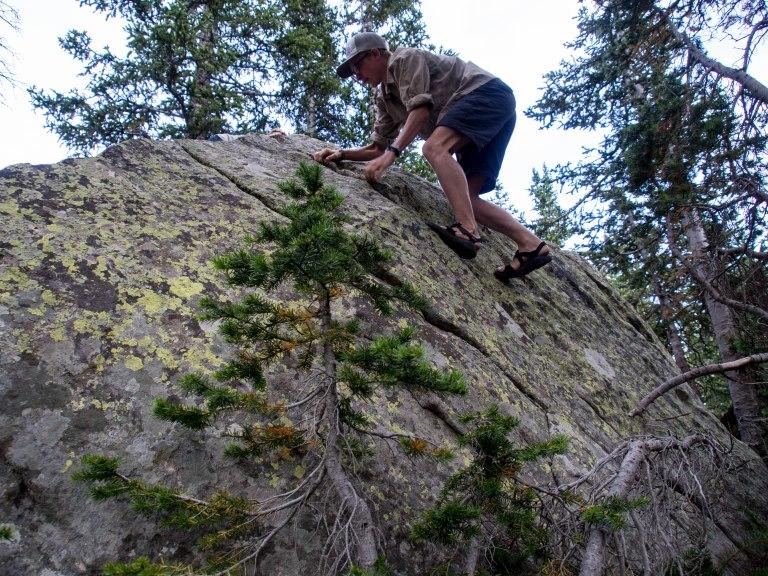 Kids love to climb rocks.