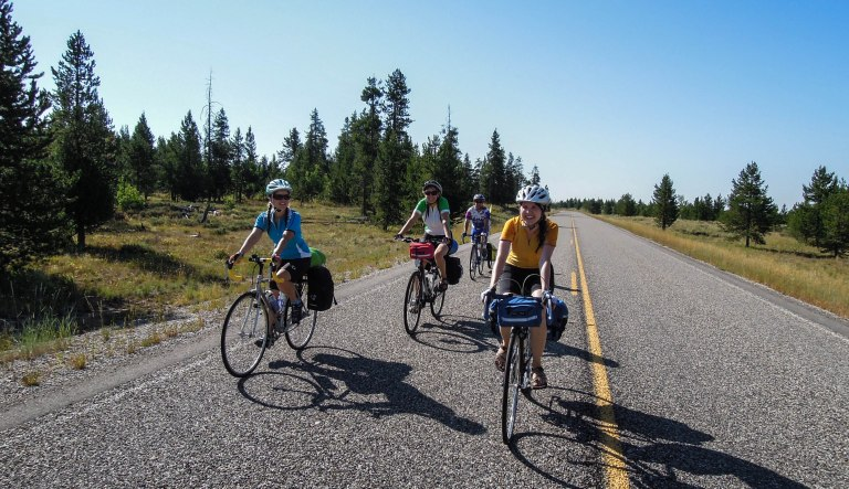 Riding along the Mesa Falls Scenic Byway