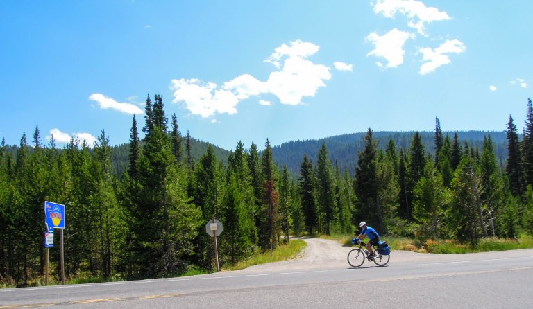 The top of Targhee Pass, the Continental Divide, and approaching the Montana border