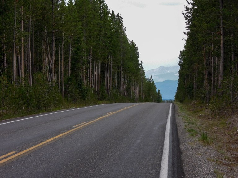 Heading toward the southern border of Yellowstone Park