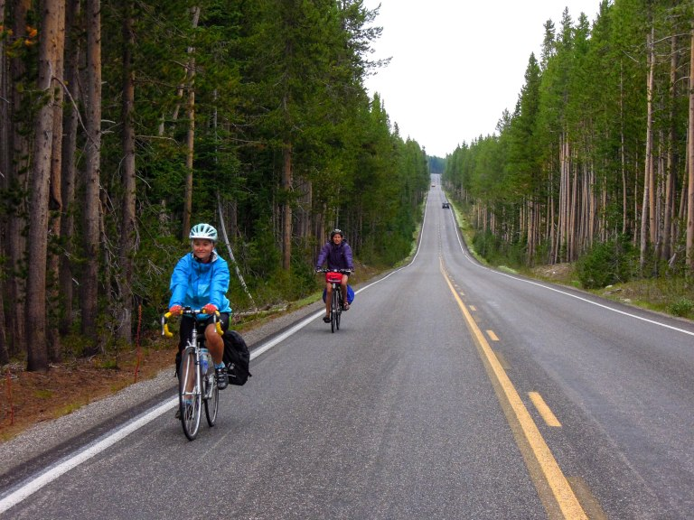 Kjirsten and Shauna descending out of Yellowstone Park