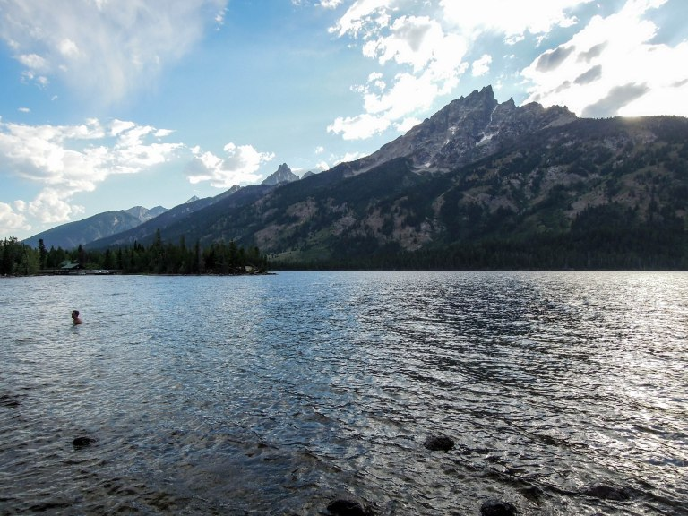 Swimming in Jenny Lake; looking south