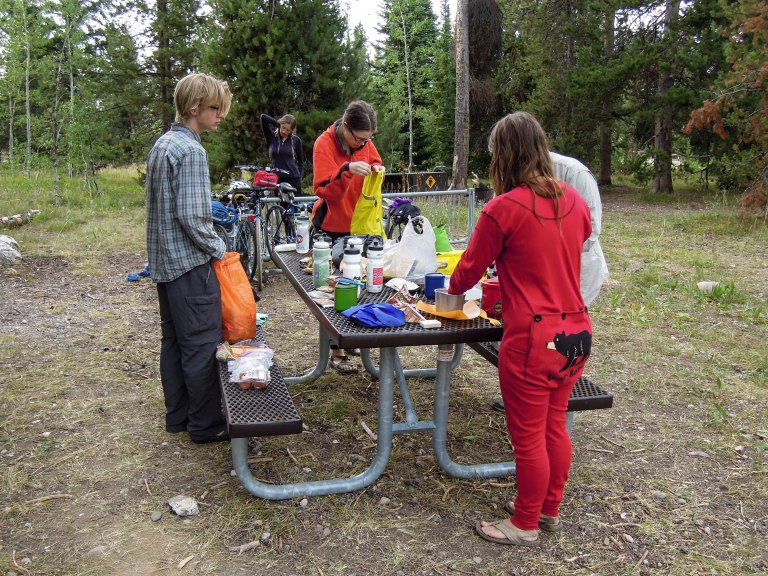 Breakfast at Jenny Lake Campground; love Kjirstens PJ's