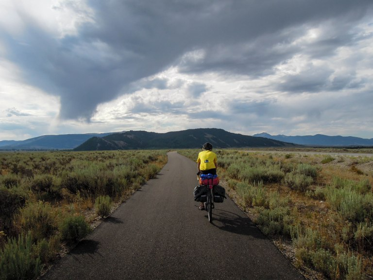 Finn headed toward Moose on the bike path