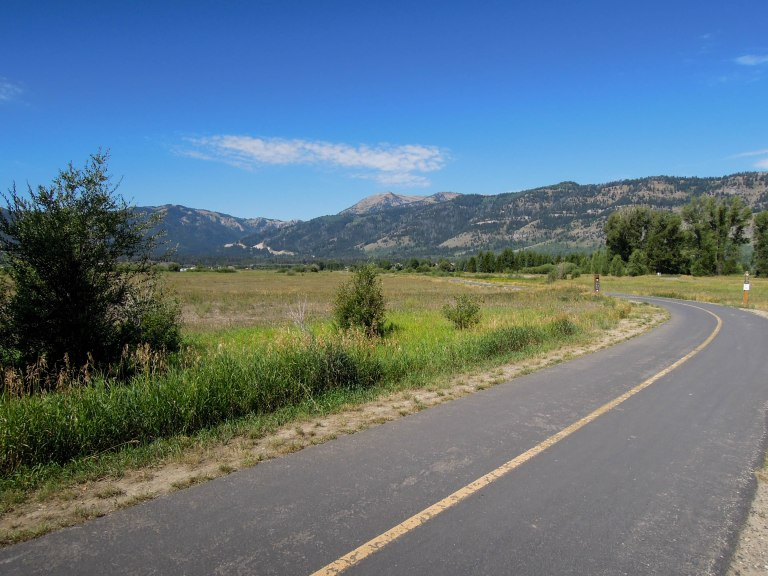 The bike path heading toward Wilson; you can see the highway heading up toward Teton Pass in the top right