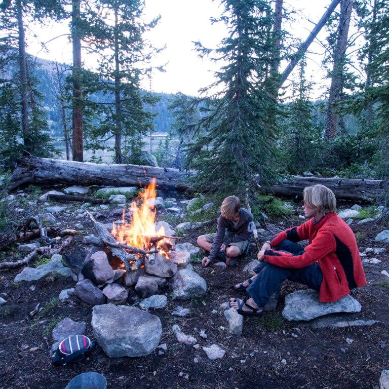 Evening campfire at Pine Island Lake