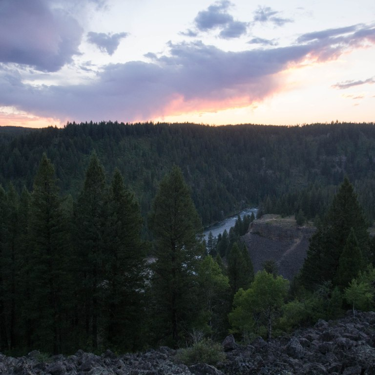 Sunset over the Henry's Fork of the Snake River, Lower Mesa Falls