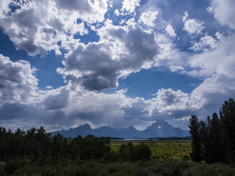 Dramatic clouds and mountains