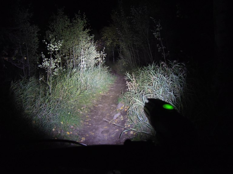 This is what singletrack looks like with 700 lumens shining on it.