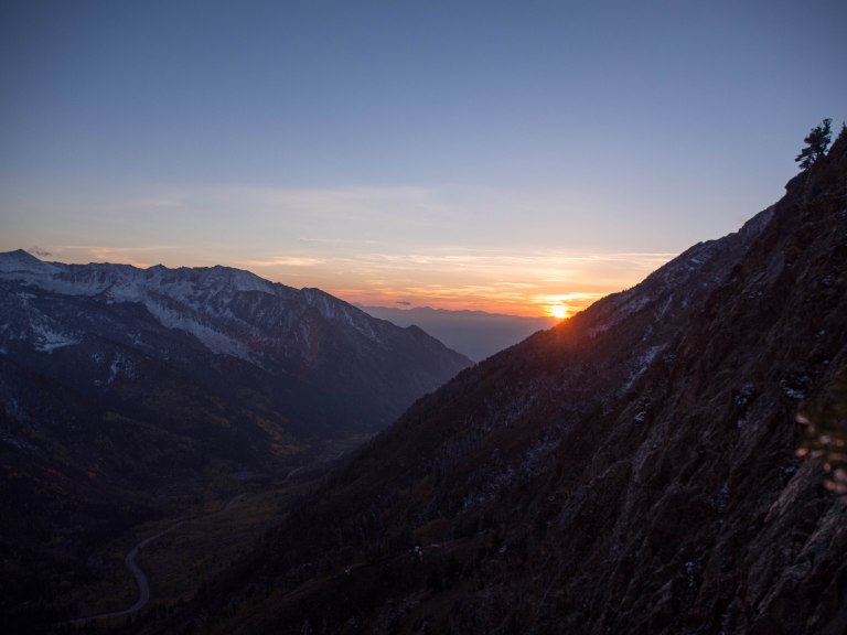 Sunset in Little Cottonwood Canyon.