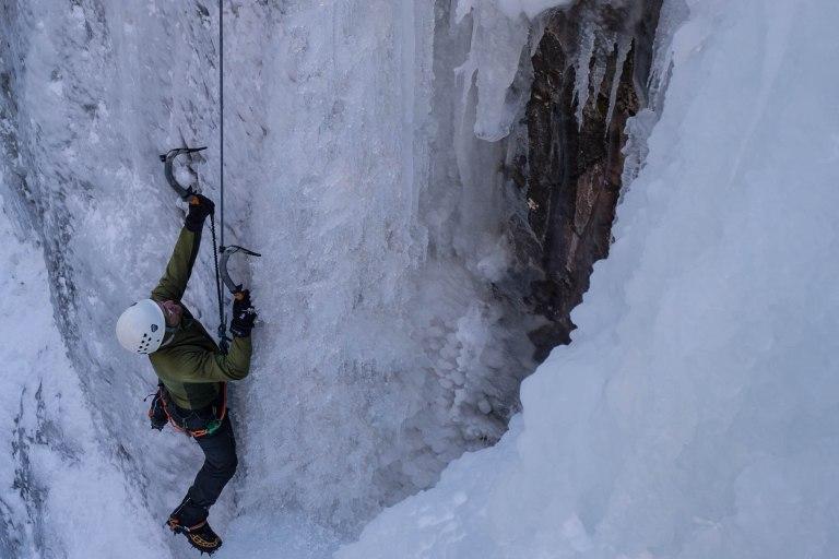 Climbing steep ice