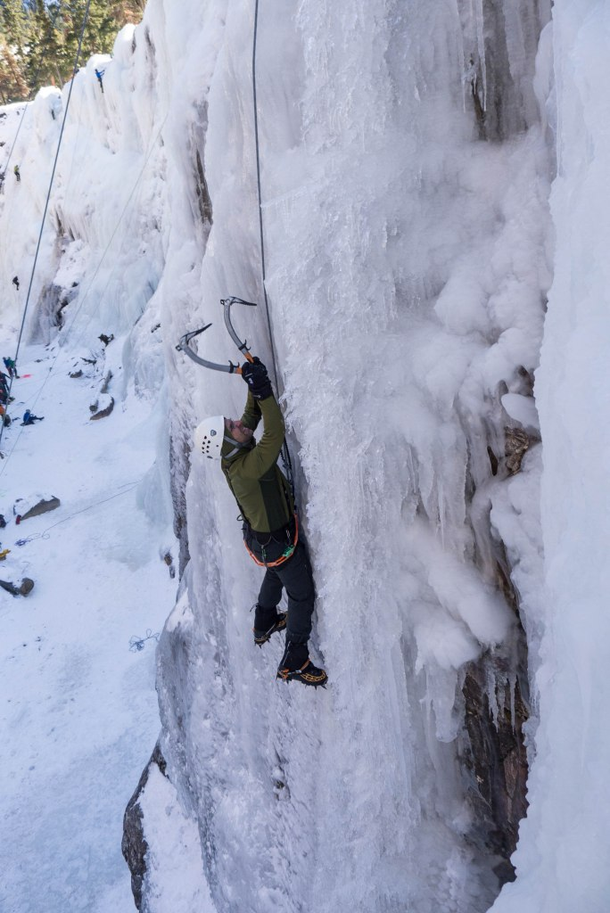 "This climb required very delicate pick placements because the ice was so thin, sometimes only about 1/4"" thick."