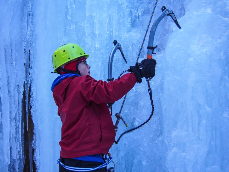 After trying out my Petzl Quark tools, Lars decided he liked Jared's lighter Cassin tools.