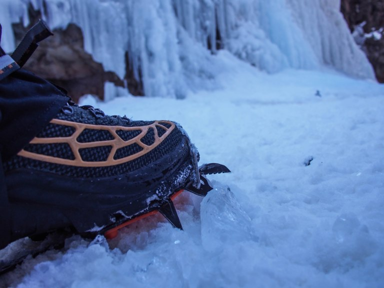 My Aku Spider boots with Petzl crampons.