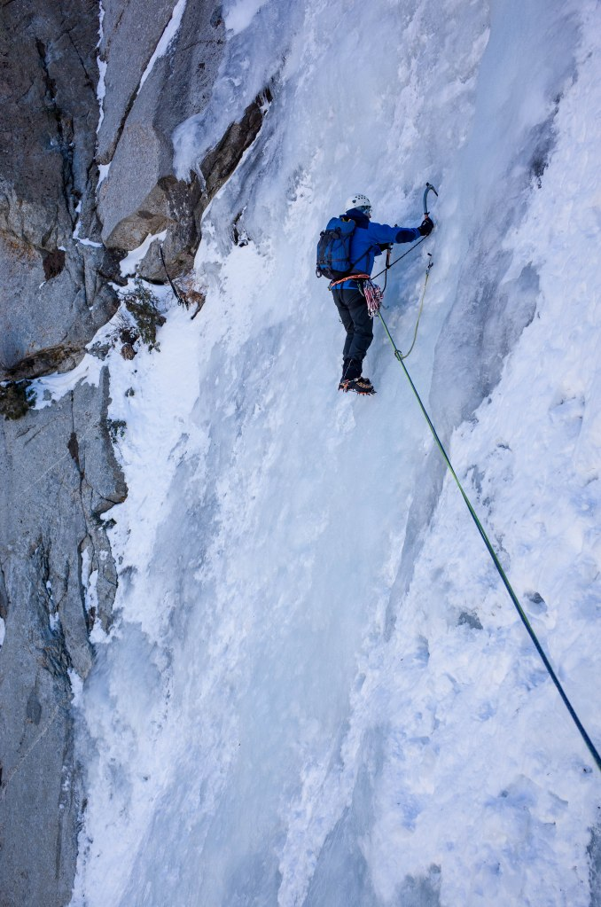 Me leading the fourth pitch.