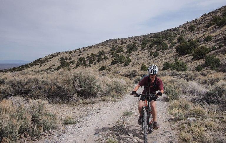 Lars heading up the road toward the Notch Peak trailhead