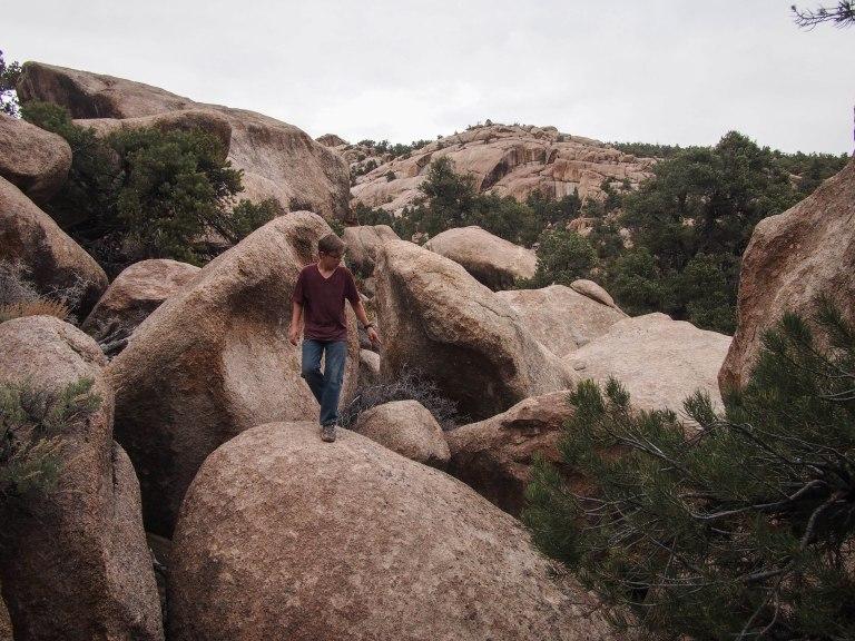 Lots of scrambling up granite boulders