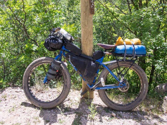 My loaded Surly Puglsey at the beginning of Forest Road 046 in Wallsburg.