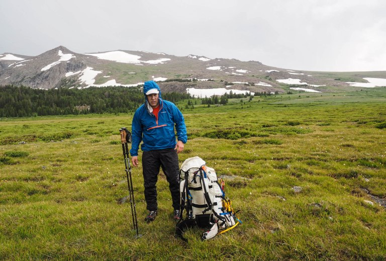Putting on rain gear up on the alpine plateau.