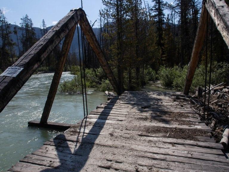 The damaged bridge over Downs Creek.