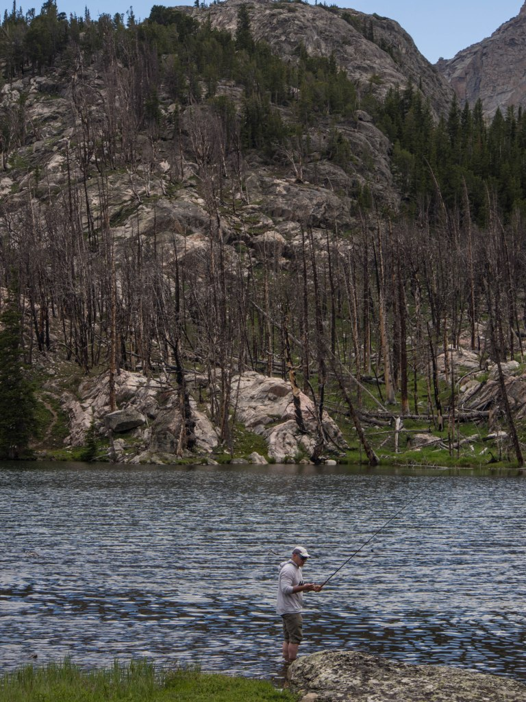 Kai fishing the small lake above our camp.