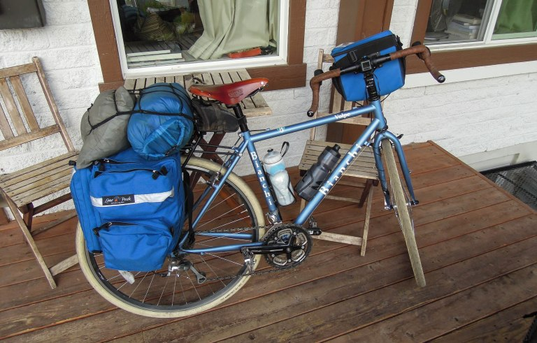 My steel framed Bianchi Volpe. We all use Lone Peak panniers and bags.