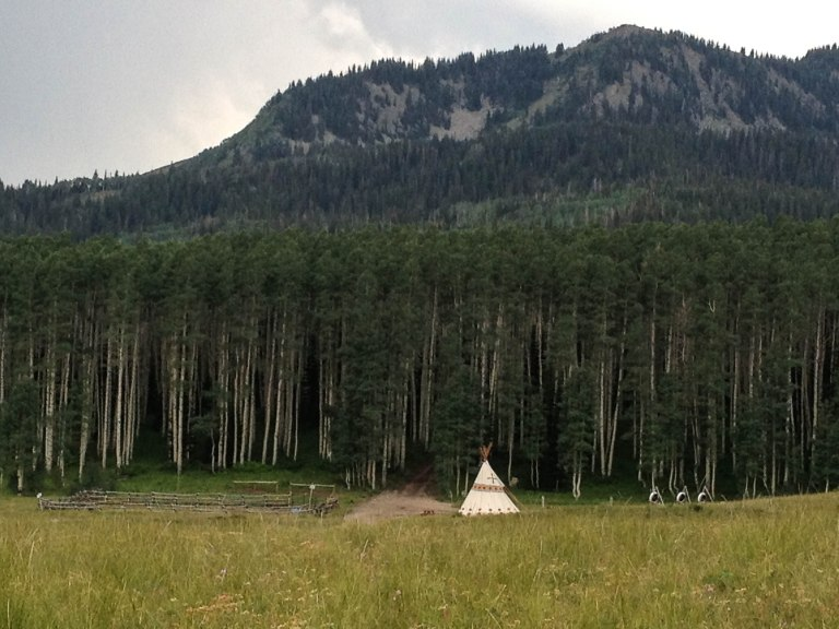 Tipi camp near the junction of Pine Canyon Road and Guardsman's Pass Road.