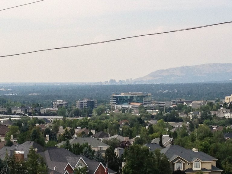 Downtown Salt Lake City from the mouth of Big Cottonwood Canyon.