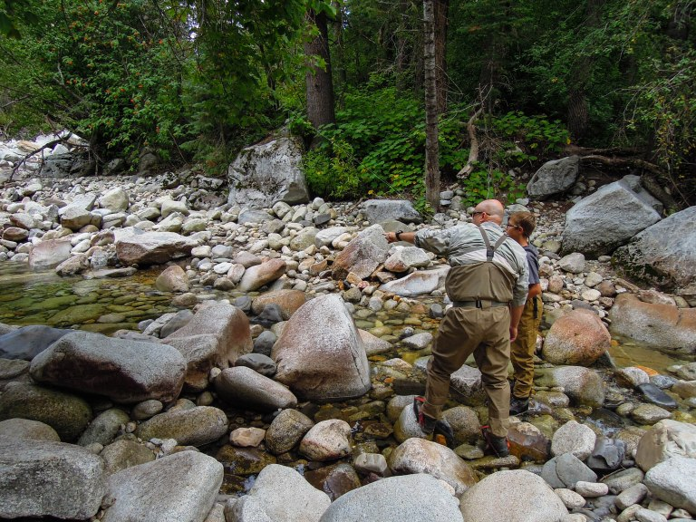Getting tips from master fly fisherman, Kai Larson.