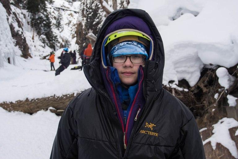 He had on 7 layers—long john top, micro fleece, Montbell thermawrap jacket, a Patagonia softshell, a down jacket, Kai's new Patagonia Nano-air parka, and Jared's Arcteryx belay parka.