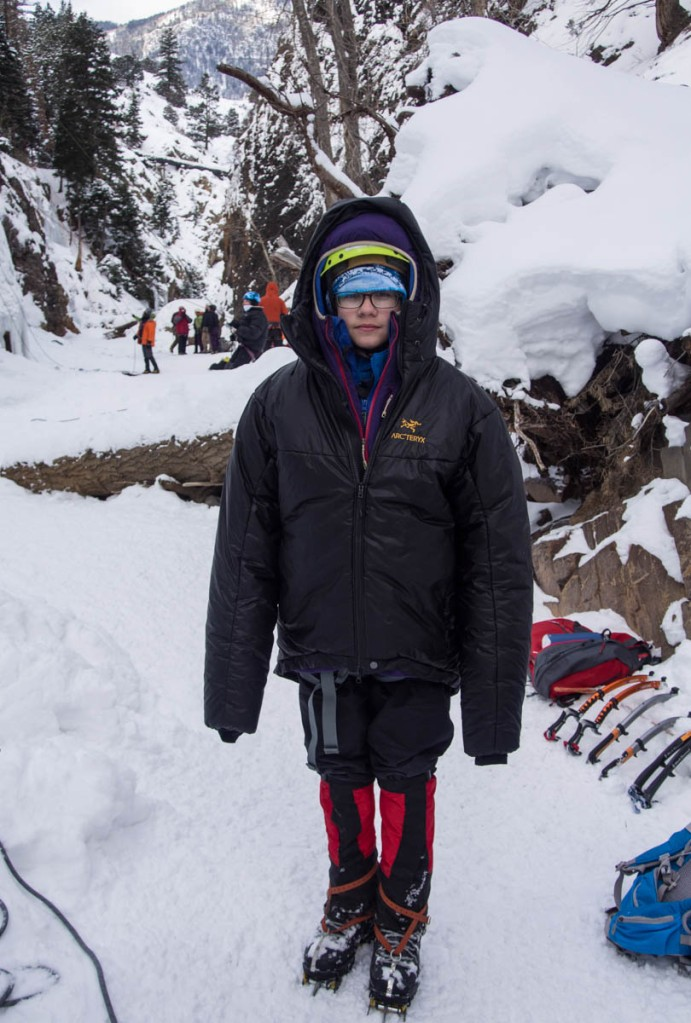 Lars was very cold after climbing and recovering from the barfies.