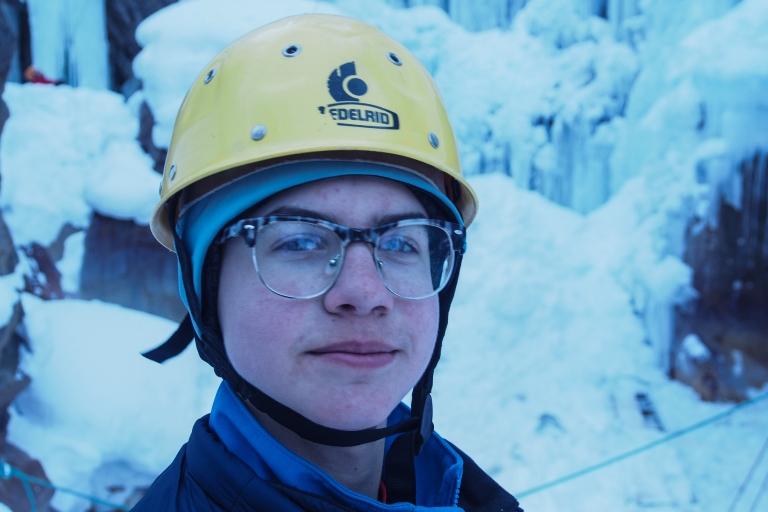 Lars, happy to be ice climbing.