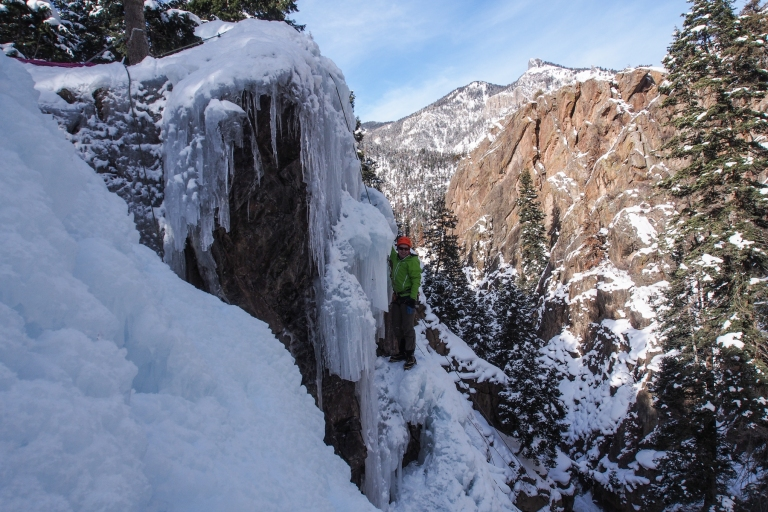 Jared climbing a steep line.