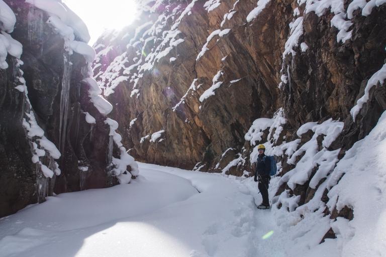 Lars hiking through the narrow gorge.