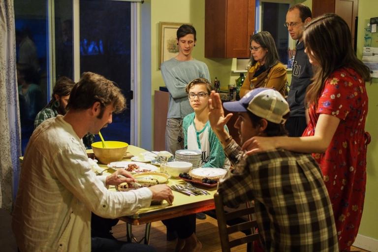Socializing after Easter dinner.