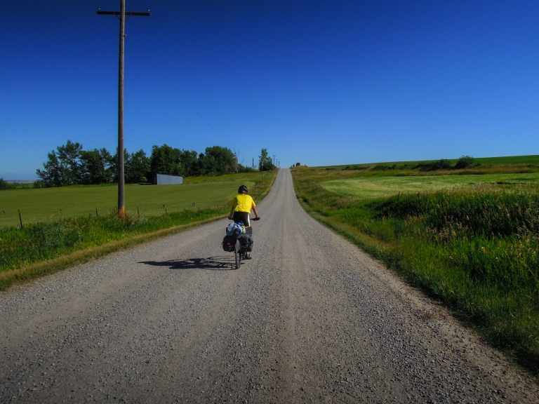 Riding through farmland.