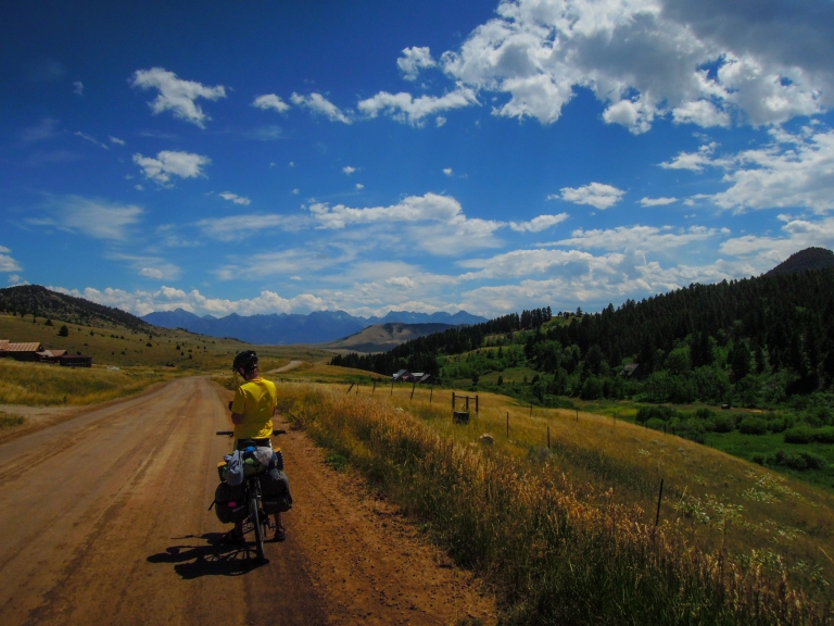 Along Trail Creek Road, with the Absaroka Mountain range in the distance.